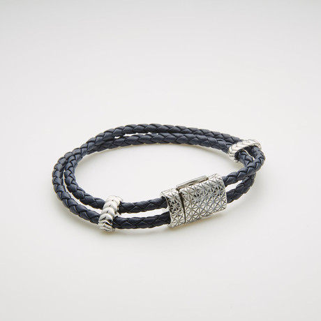 Willowbird // Double Stranded Braided Leather Bracelet // Navy Blue + White