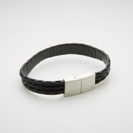 Wide Woven Leather Magnetic Bracelet // Blue + Black + White