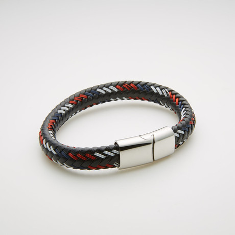Steel Evolution // Woven Leather Magnetic Bracelet // Red + White + Black