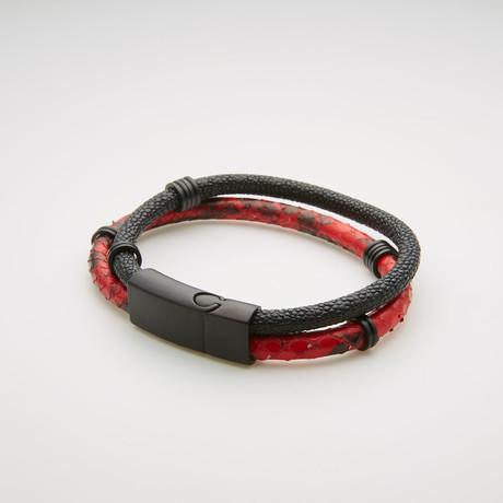 Snake Print Double Stranded Magnetic Bracelet // Red + Black