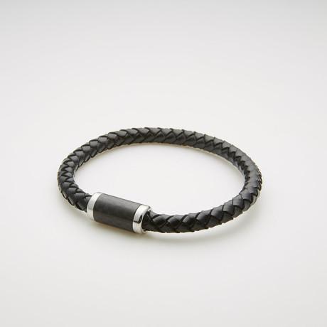 Braided Leather + Rondelle Beaded Magnetic Bracelet // Black + White
