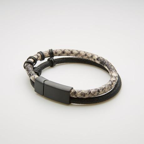 Snake Print Double Stranded Magnetic Bracelet // Black