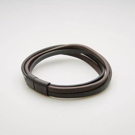Triple Stranded Leather Magnetic Bracelet // Black + Brown