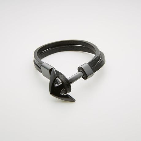 Groove-Cut Anchor + Leather Bracelet // Black