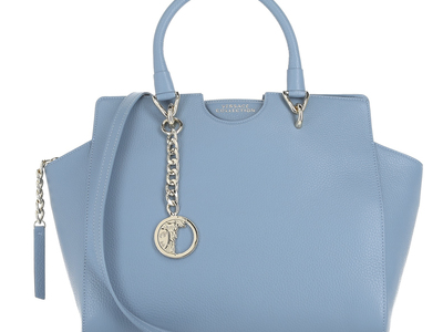 Photo of Versace Collection Women's Designer Handbags Pebbled Leather Medium Satchel Bag // Denim Blue by Touch Of Modern