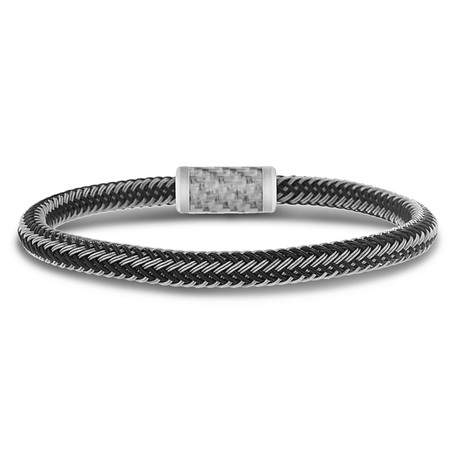 Leather + Wire Magnetic Bracelet // Black + Silver