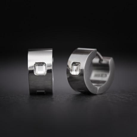 Crystal Huggie Hoop Earrings // Silver
