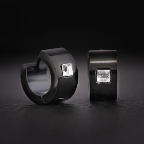 Cubic Zirconia Huggie Hoop Earrings // Black + Silver