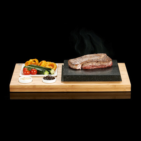 The SteakStones Steak Plate + Sauces Set