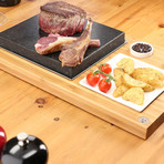 The SteakStones Steak Plate + Sauces Set