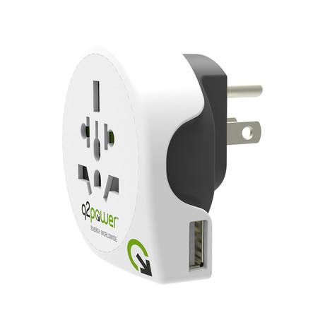 World To USA Power Adapter + USB Port