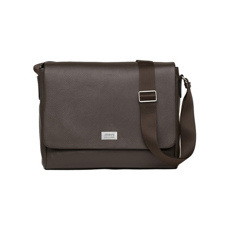 Grained Leather Messenger Bag // Brown
