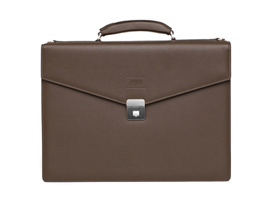 Photo of Armani Designer Leather Briefcases + Belts Grained Leather Briefcase Bag + Shoulder Strap // Brown by Touch Of Modern