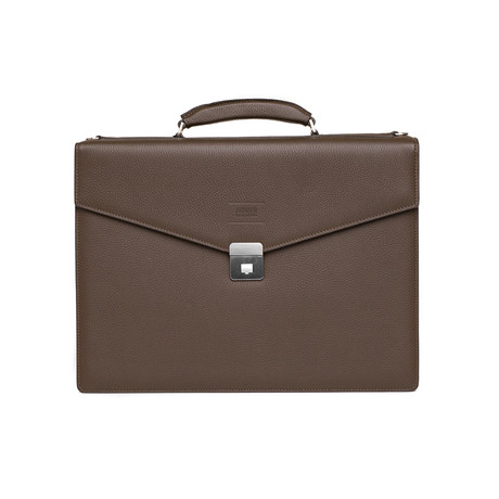 Grained Leather Briefcase Bag + Shoulder Strap // Brown