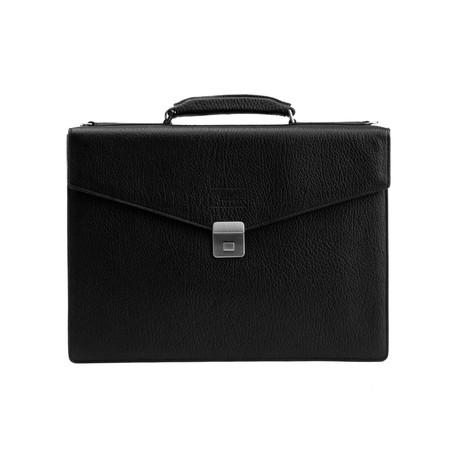 Grained Leather Briefcase Bag + Shoulder Strap // Gunmetal Black
