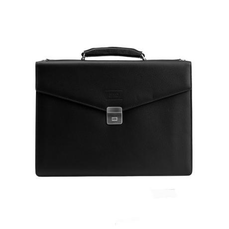 Grained Leather Briefcase Bag + Shoulder Strap // Black