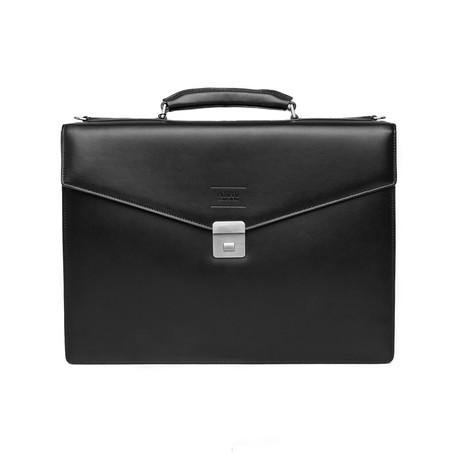 Leather Briefcase Bag + Shoulder Strap // Black