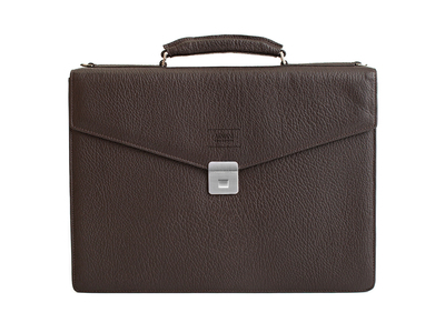 Photo of Armani Designer Leather Briefcases + Belts Grained Leather Briefcase Bag + Shoulder Strap // Dark Brown by Touch Of Modern