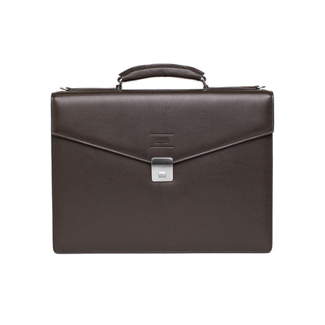 Leather Briefcase Bag + Shoulder Strap // Dark Brown