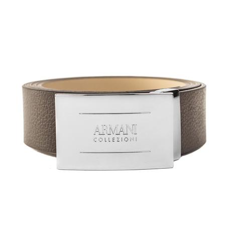 "Armani Collezioni // Grained Leather Belt // Width 1.25"" // Brown"