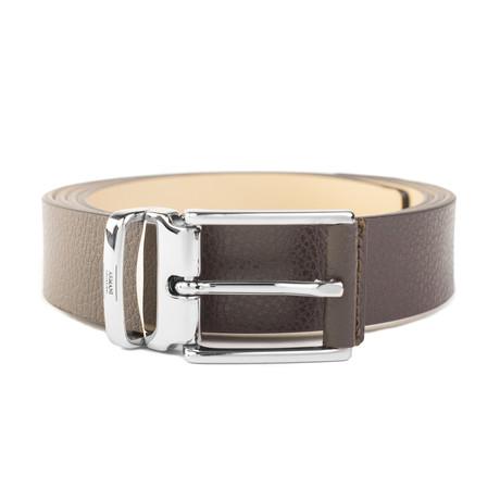 "Armani Collezioni // Grained Leather Belt // Width 1.15"" // Brown"