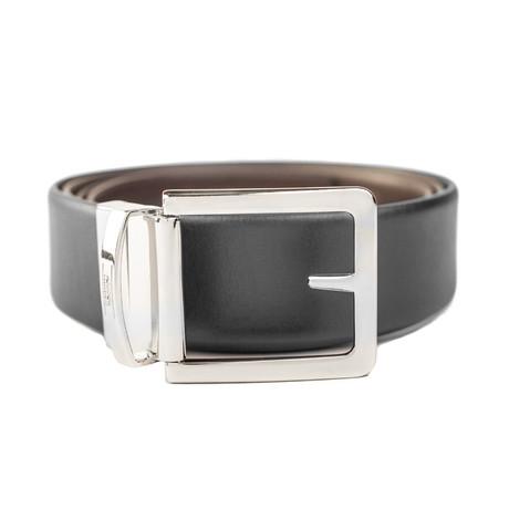 "Leather Reversible Belt // Width 1.25""// Black + Brown"