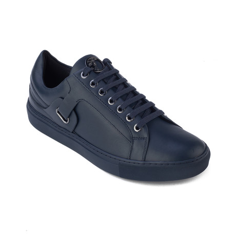 0959550e9ee0bf Leather Medusa Logo Low Top Tonal Sneaker    Navy Blue (US  8)