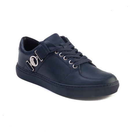 Leather Medusa Logo Low Top Sneaker // Navy Blue (US: 7)