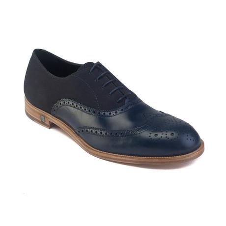 Leather Lace-up Derby Dress Shoe // Navy Blue (US: 7)