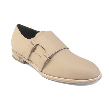 Leather Lace-up Monk Strap Oxford Dress Shoe // Beige (US: 7)