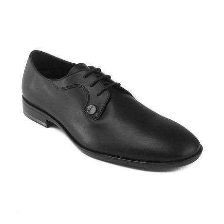 Leather Medusa Lace-up Oxford Dress Flat // Black (US: 7)