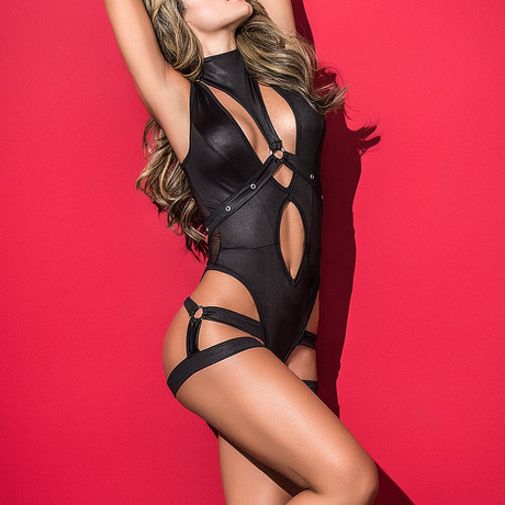 Jenna Wet Look Bodysuit // Black (S)