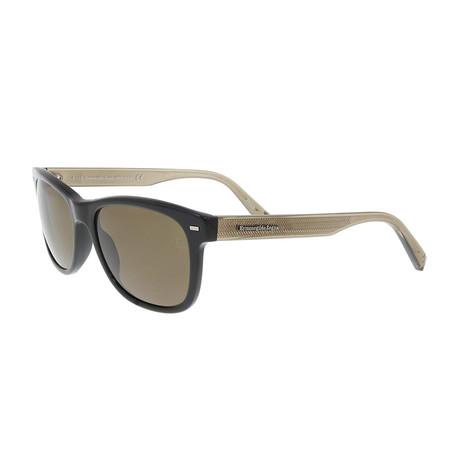 Zegna // Men's Classic Polarized Sunglasses // Shiny Black + Roviex