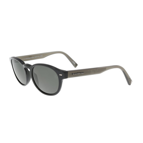 Zegna // Zegna // Classic Oval Polarized Sunglasses // Black + Gray