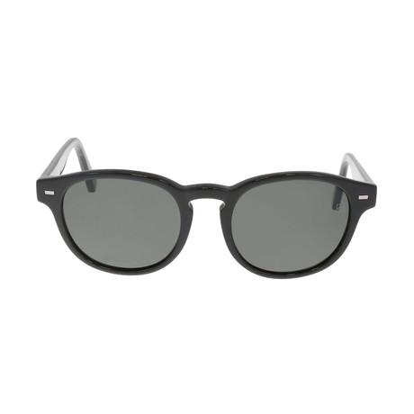 Zegna // Men's Classic Oval Polarized Sunglasses // Black + Gray
