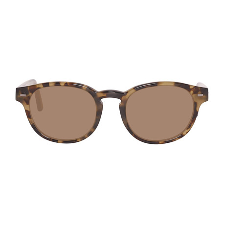 Zegna // Classic Oval Polarized Sunglasses // Colored Havana + Brown