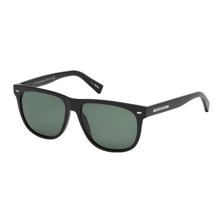 Zegna // Classic Rectangle Polarized Sunglasses // Black + Green