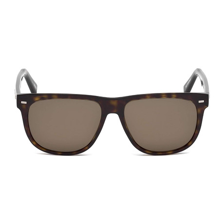 Zegna // Classic Rectangle Polarized Sunglasses // Tortoise + Brown