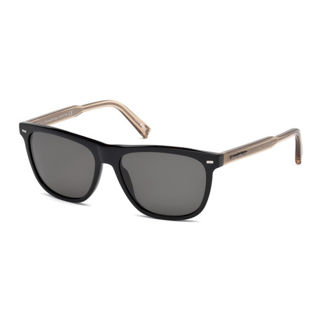 Zegna // Rectangle Polarized Sunglasses //Smoke + Black Transparent