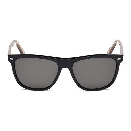 Zegna // Men's Rectangle Polarized Sunglasses // Shiny Black + Transparent Champagne