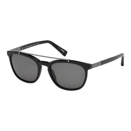 Zegna // Rectangle Top Bar Polarized Sunglasses // Black + Gray