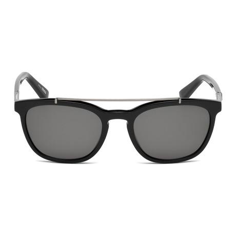 Zegna // Men's Rectangle Top Bar Polarized Sunglasses // Black + Gray