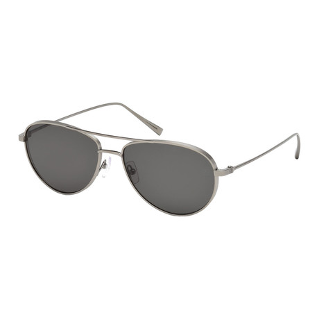 Zegna // Titanium Polarized Aviator Sunglasses // Natural Titanium + Gray