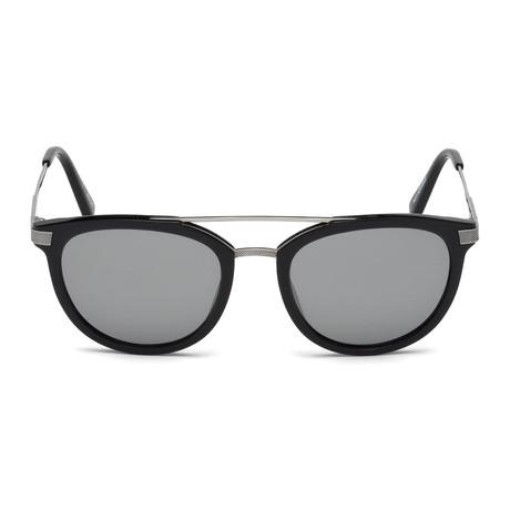 Ermenegildo Zegna // Acetate + Titanium Aviator Sunglasses // Black + Gray Mirror