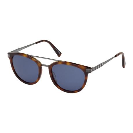 Zegna // Acetate + Titanium Aviator Sunglasses // Tortoise + Blue