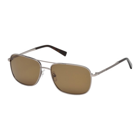 Zegna // Metal Navigator Sunglasses // Light Ruthenium + Light Brown