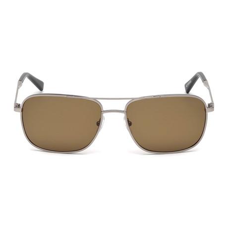 Zegna // Men's Navigator Sunglasses // Light Ruthenium + Light Brown