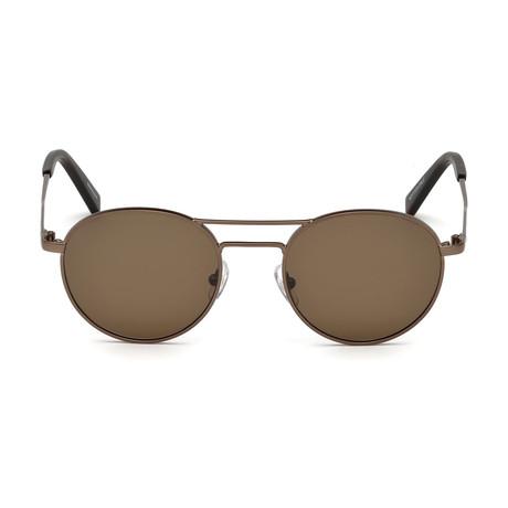 Zegna // Round Aviator Sunglasses // Matte Bronze + Brown
