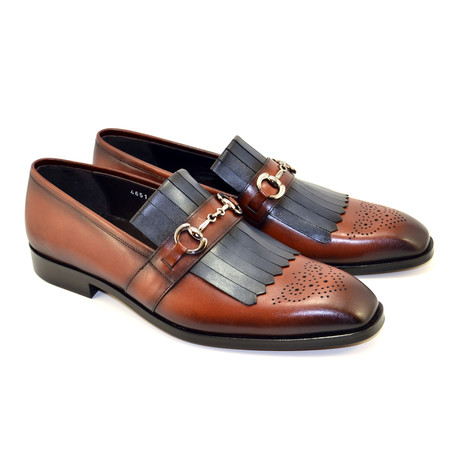 Kiltie Buckle Loafer // Tan + Navy (US: 7)