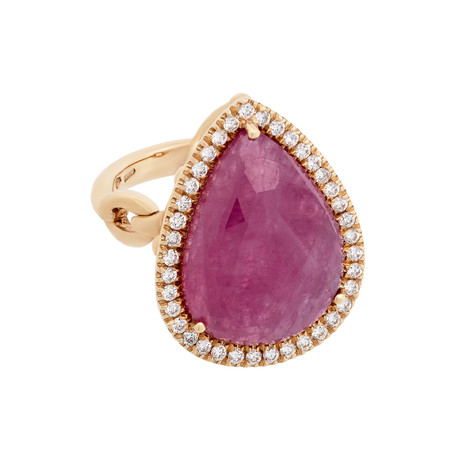 Vintage Giovanni Ferraris 18k Rose Gold Diamond + Pink Sapphire // Ring Size: 5.75